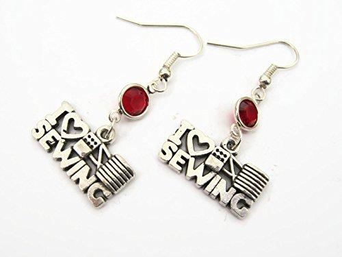 I Love Sewing Birthstone Earrings, Seamstress Earrings, Quilters Earrings, Personalized Quilter Jewelry Gift from Abundant Earth Works