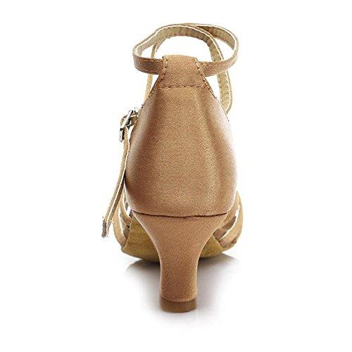 HROYL Zapatos de baile/Zapatos latinos de satén mujeres ES7-F17 5CM Beige