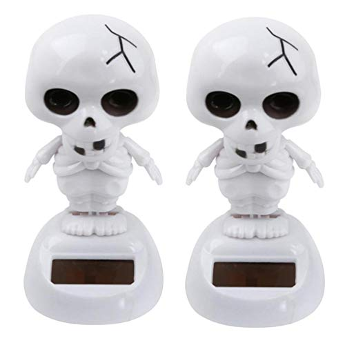 NewKelly 2Pcs Solar Powered Dancing Halloween Swinging Animated Bobble Dancer Toy Car Dec (White) for $<!--$3.92-->
