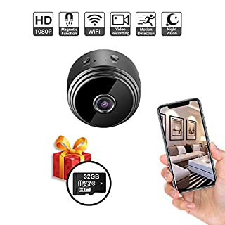 Hidden Spy Camera, WiFi Mini HD 1080P Nanny Cam, Night Vision & Motion Sensor Alerts & Wide Angle, Small Surveillance Security Cameras Support iPhone Android Video Detection (32GB Card Included)