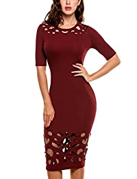 Meaneor Women's Sexy Cut Out Elbow Sleeve Cocktail Party Bodycon Dress