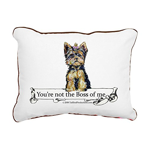 "CafePress - 2-Boss Yorkie - 12""x15"" Canvas Pillow, Throw Pil"