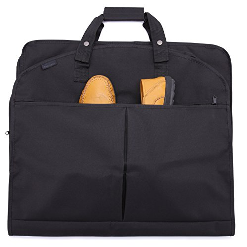 Magictodoor 40 Inch Garment Bag Extra Capacity Waterproof Travel Garment Bag with Shoes Pockets w/ Metal Hook Black