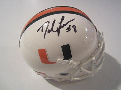Johnson Autographed Mini Helmet (Duke Johnson Jr Miami Hurricanes Autographed Mini Helmet)