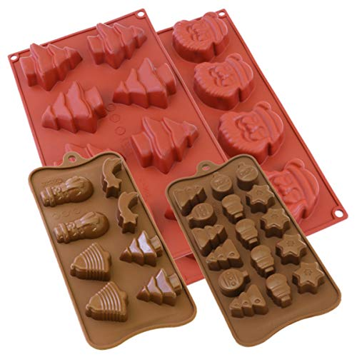 (Oggibox Christmas theme Silicone Mold for Muffin, Cupcake, Brownie, Cornbread, Cheesecake, Panna Cotta, Pudding, Jello Shot, Soap and More Pack of 4)