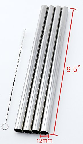 4 Stainless Steel Straws - 4 Stainless Steel Straws Big Straw Extra Wide 1/2
