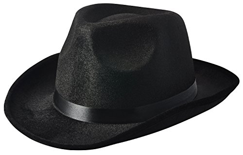 [NJ Novelty - Fedora Gangster Hat, Black Pinched Hat Costume Accessory] (Michael Jackson Billie Jean Costumes For Kids)