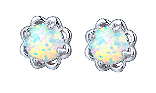 Easthors Rainbow Fire Opal Earrings For Women Engagement Flower 925 Sterling Silver Studs (White) (Created Opal Silver Flower Ring)