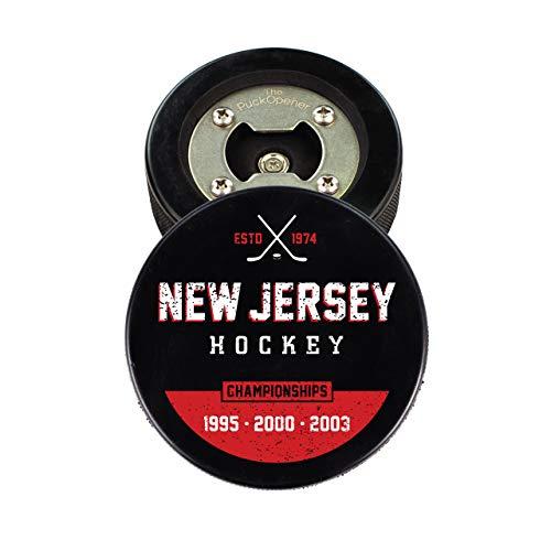 (The PuckOpener - Hockey Puck Bottle Opener - New Jersey Champs)