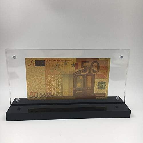 ZYZRYP PET素材ユーロ紙幣50ビルは素敵なアクリルフレームとの結婚式のリターンの贈り物お金のために24K金に浸し 使いや