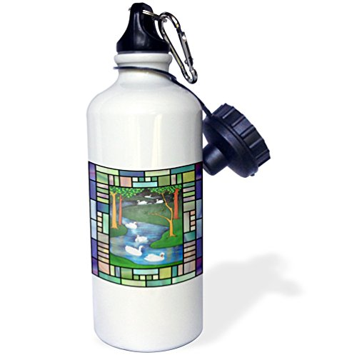 Swan Bottle (3dRose wb_46937_1 Seven Swans A-Swimming-Animal, The Twelve Days of Christmas, Swan, Christmas, Swan Art, Swans Sports Water Bottle, 21 oz, White)
