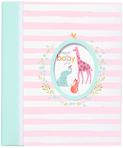 Carter's Pink Striped Animal Themed 3-Ring Baby Girl Memory Book, 10.125
