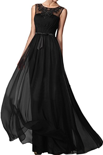 Rundkragen Damen Applikation Chiffon Ivydressing Promkleid Elegant amp;Tuell Schwarz Festkleid Partykleid Abendkleid 4Edtf