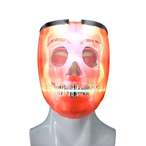 Aomeiqi LED Light-Up Skull Mask-Unique 2 in 1 Rave Mask for Halloween Party Costumes