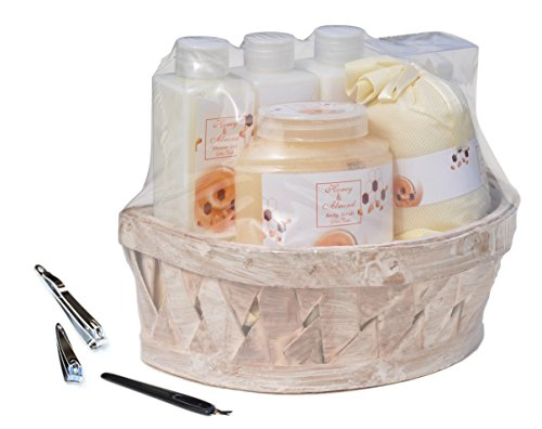 10 PIECE Basket Honey Almond Bubble Bath Fizzer Bomb Bath Body Shower Spa Gift Set for Women Mom Mother in Law Hostess with Manicure Set