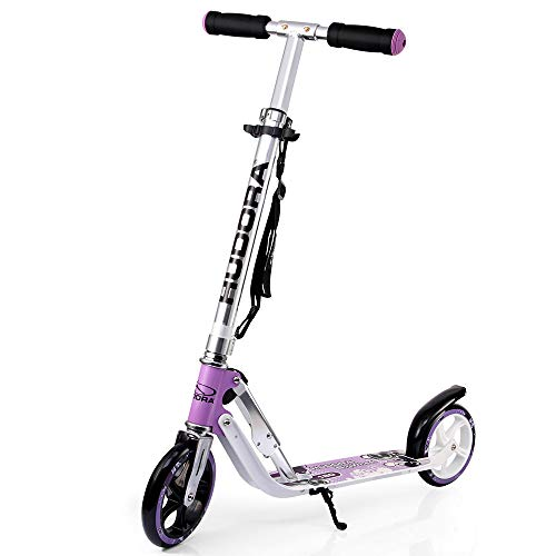 HUDORA 180 (14746) Foldable Kick Scooter Height Adjustable Aluminum Scooters with Big PU Wheels (Girls Purple Electric Scooter)