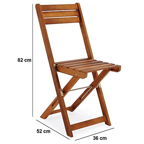 Deuba Salon de Jardin Pliant Style bistrot avec 2 chaises et 1 Table en  Bois d\'acacia