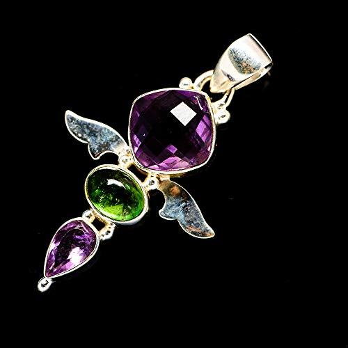 Ana Silver Co Faceted Amethyst, Green Tourmaline 925 Sterling Silver Pendant 1 1/2