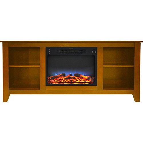 Fireplace Santa Monica - Cambridge CAM6226-1TEKLED Santa Monica 63 In. Electric Fireplace & Entertainment Stand in Teak w/ Multi-Color LED Insert