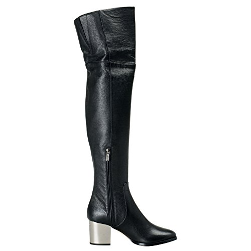 SZ 7 Boots US Grainy Shoes 38 Over Black Leather IT Knee CHOO Womens JIMMY qPOzBc