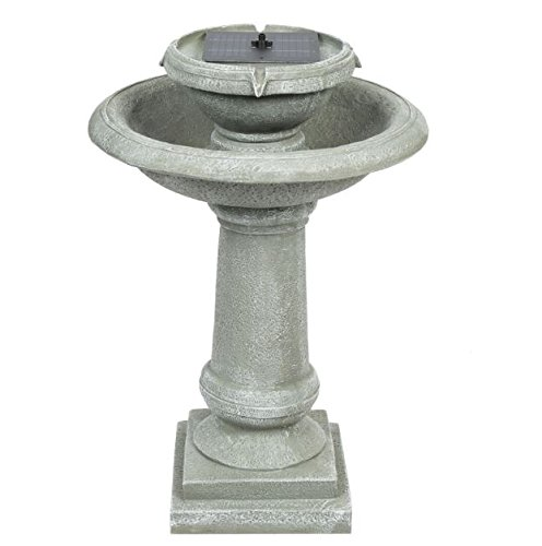Gray Bird Bath Fountain Weathered Solar Power 2 Tier + eBook by eXXtra Store