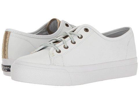 (スペリートップサイダー) SPERRY TOPSIDER レディースウォーキングシューズ?カジュアルスニーカー?靴 Sky Sail Leather White/Gold 9 26cm M (B) [並行輸入品]