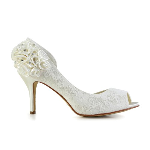 JIA JIA Bridal 89301A Lace Satin Low Heel Peep toe Prom Party Dance Wedding shoes Wommen Pumps Ivory 0WpVzmNUs