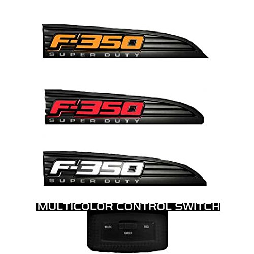 - 11-15 Ford F350 Illuminated Emblems 2-Piece Kit Includes Driver & Passenger Side Fender Emblems in Black - F350 in WHITE ILLUMINATION