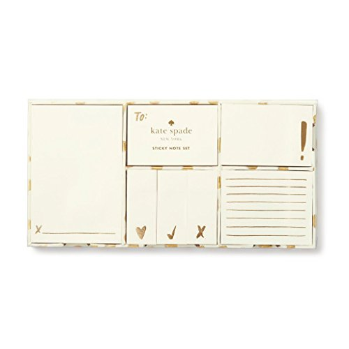 Kate Spade New York Women's Sticky Note Set, Flamingo Dot Gold (176255)