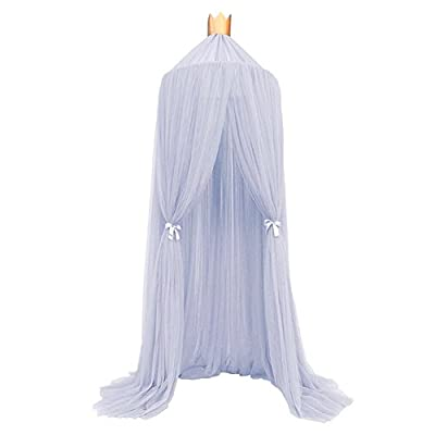 Samber Bed Canopy for Children, Round Lace Dome Mosquito Netting Hanging Curtain, Baby Kids Play Reading Tent Games House Insect Net Protection With A Double-Side Hook-Hanging Tent and A Crown