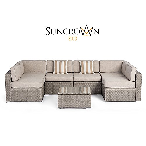 Grey Wicker Sectional Set - Suncrown Outdoor Modular Sectional Furniture Set (7-Piece) All-Weather Grey Wicker with Light Grey Zippered Cushions & Sophisticated Glass Coffee Table | Patio, Backyard, Pool
