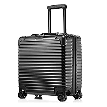 Image of Aluminum Suitcase Rolling Briefcase Compact 4 Wheels Brief Case Laptop Bag Traveling Carry On Luggage Built-in TSA Lock (18 Inch, Black) Luggage