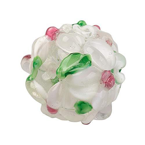 PandaHall 10pcs Lampwork Beads Rondelle with Flower Bumpy WhiteSmoke Beads for Jewelry Making, 14~15x12~13mm, Hole: 1.5~1.8mm