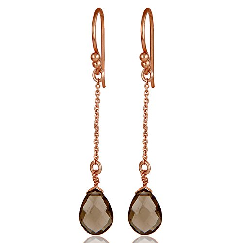 Rose Gold Plated 925 Silver Smoky Quartz Chain Earrings Bridesmaid Jewelry ()