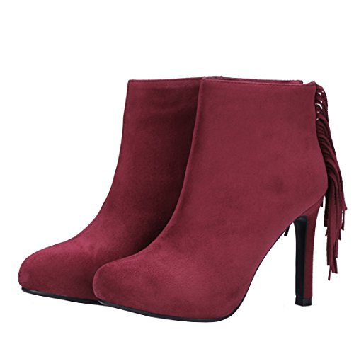 Bootis AIYOUMEI Autumn Solid Boots Thin Zipper Women's Suede Winter Winered Ankle Tassel Heel qAI8twIrxP