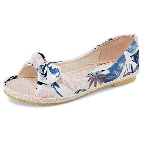 Kaloosh Women's Sweet Cloth Button Bowtie Bowtie Button Daily Shoes Comfortable Sandals Leisure Flats B07CCZW7SH Parent f755cc