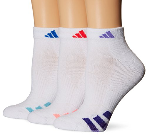 adidas Women's Cushioned Low Cut Socks (3 Pack), White/Shock Red/Shock Blue/Light Flash Purple, One Size