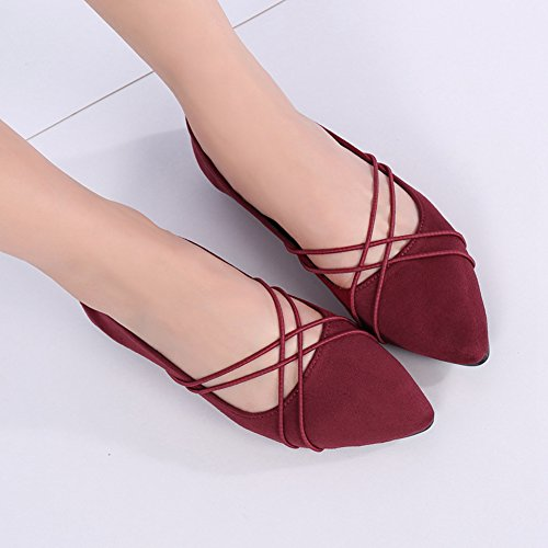 Btrada Womens Fashion Flat Dress Shoes Elastic Band Loafers Penny Shoes Pointed Toe Ballet Boat Shoes Red pHV3fyv