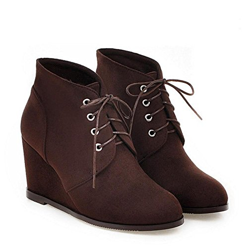 COOLCEPT Damen Kurz Stiefel High Heel Dark Brown