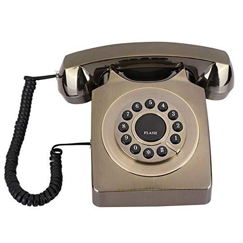 Telefono Fijo Vintage, telefono de Escritorio Multifuncional Chapado en Bronce con Tono de Llamada, Aspecto Retro Exquisito, telefono clasico Vintage para Oficina en casa(Bronce)