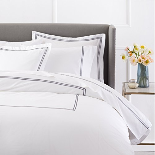 - Pinzon 400 Thread Count Egyptian Cotton Sateen Hotel Stitch Duvet Cover - Full or Queen, Silver Grey