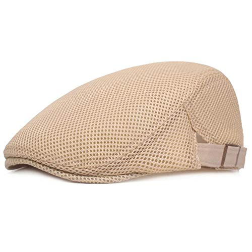 Eric Carl Mens Breathable Mesh Summer Duckbill Hat Newsboy Beret Ivy Cap Cabbie Flat Soft Driving Outdoor Adjustable Beige