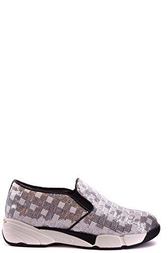 Pinko Slip On Sneakers Donna SEQUINSZI6 Fibre Sintetiche Argento/Bianco
