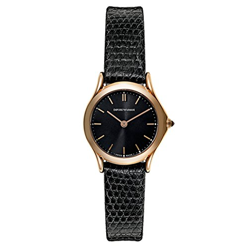 Emporio Armani Swiss Made Women's Quartz Stainless Steel and Leather Dress Watch, Color:Black (Model: ARS7201)