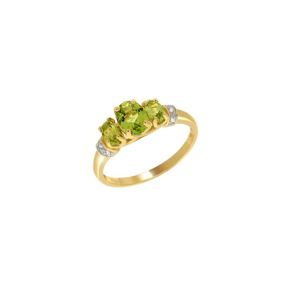 9ct Yellow Gold Peridot & Diamond Ring Size 6.5