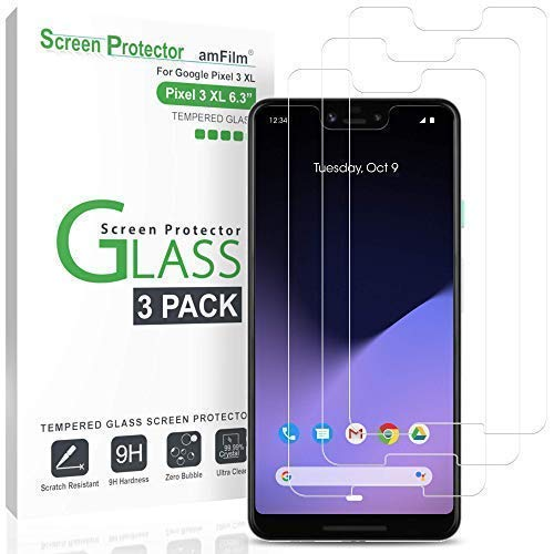 Price comparison product image Pixel 3 XL Screen Protector Glass (3-Pack),  amFilm Google Pixel 3 XL Tempered Glass Screen Protector for Pixel 3 XL,  2018 (3 Pack)
