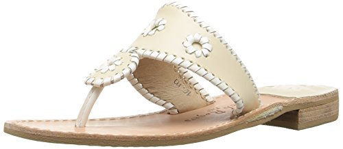 Jack Rogers Women's Palm Beach Navajo Classic Sandal,Bone/White,5.5 (Jack Links Apparel)