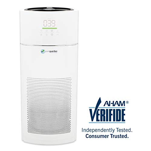 Germ Guardian AC9400W 28 360 True HEPA Filter Air Purifier with AQM for Home, Extra-Large Rooms, Quiet Sleep Mode, Filters Allergies, Dust, Pet Dander, Odors, 3-Yr Wty, GermGuardian, White