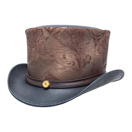 American Hat Makers hAtlas by Steampunk Hatter Leather Top Hat, Black Finished - Large