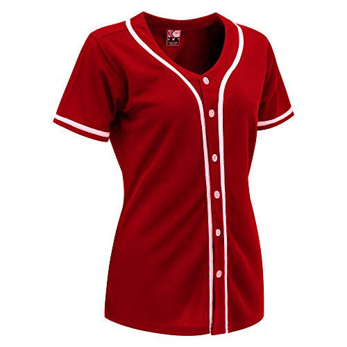 MOLPE Women Hip Hop Hipster Button Down Baseball Jersey (Red/White-2, M)